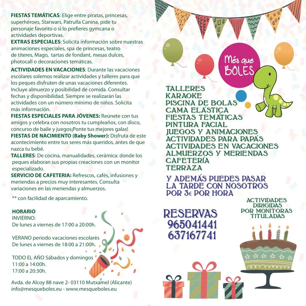 menus parque infantil Alicante